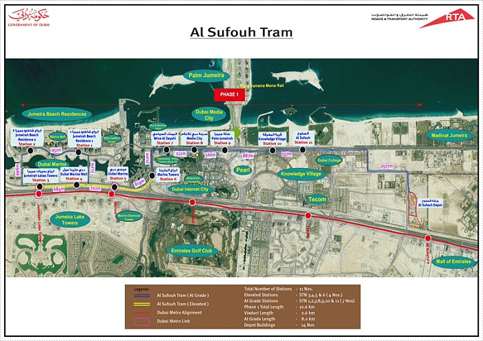 RTA Al Sufouh Dubai Tram route map for Phase I