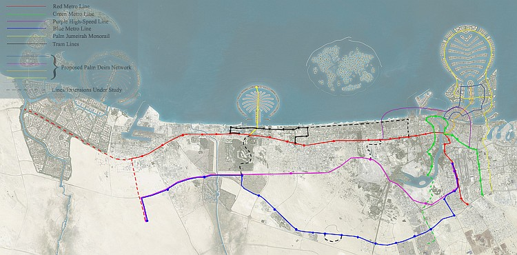 Map of Dubai metro, Palm Jumeirah, tram lines planned and proposed, May 2007
