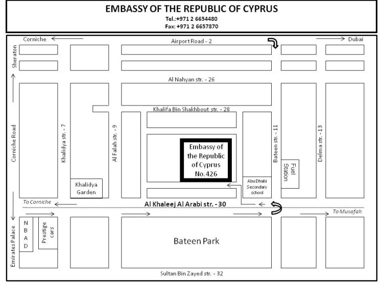 Embassies in abu dhabi location map stopboris Gallery