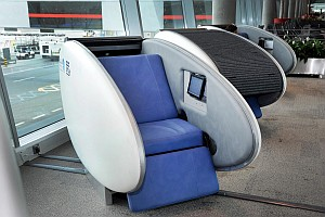 Abu Dhabi Airport GoSleep sleeping pod open