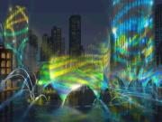Dubai Fountain at night - artists impression of colored lights