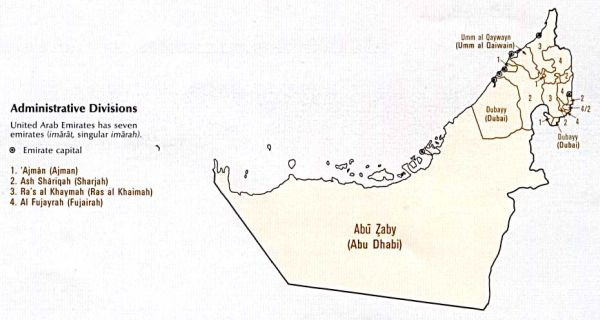 Map of UAE showing administrative regions of each emirate