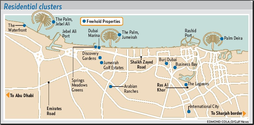 Dubai freehold property locations